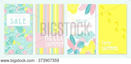 Design Banner And Card For Summer Season. Abstract Geometric Background With Summer Fruit, Tropical