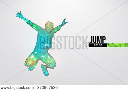Abstract Silhouette Of A Wireframe Jumping Man. People In A Jump Symbolize Freedom. Man From Particl