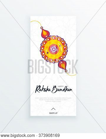 Happy Raksha Bandhan Festival Vertical Story Template. Traditional Rakhi Amulet To Sisters From Brot