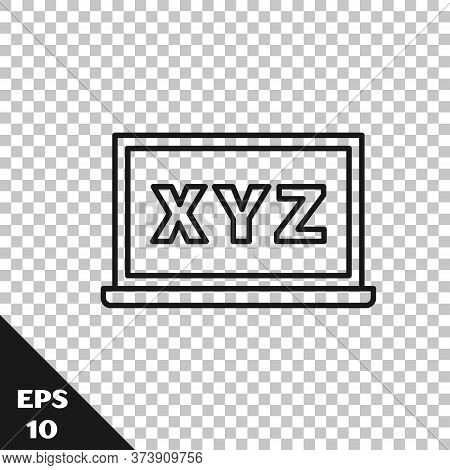 Black Line Xyz Coordinate System On Chalkboard Icon Isolated On Transparent Background. Xyz Axis For