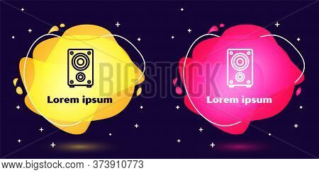 Set Line Stereo Speaker Icon Isolated On Blue Background. Sound System Speakers. Music Icon. Musical