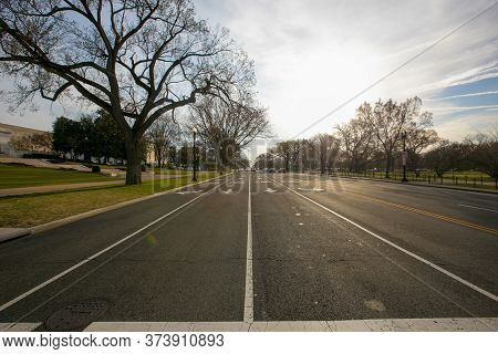 Spring, 2016 - Washington Dc, Usa - Empty Highway In Downtown Washington Dc