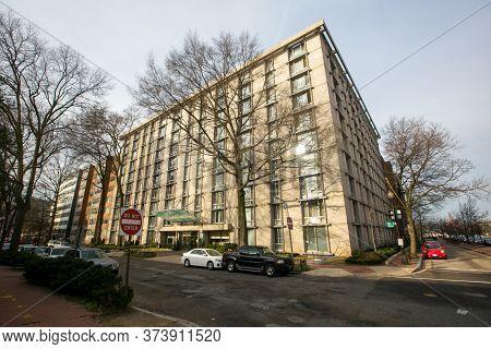 Spring, 2016 - Washington Dc, Usa - Residential Apartment Building On A Street In Washington Dc.