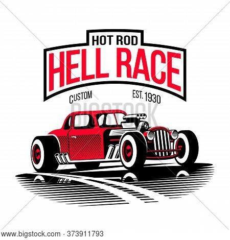 Vintage Hell Race Red Hot Rod Vector Illustration