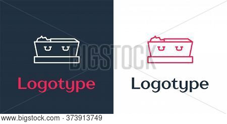 Logotype Line Open Coffin With Dead Deceased Body Icon Isolated On White Background. Funeral After D
