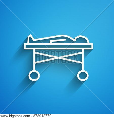 White Line Dead Body In The Morgue Icon Isolated On Blue Background. Long Shadow. Vector