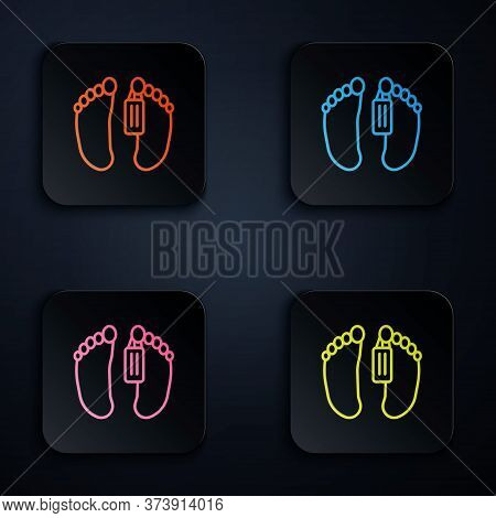 Color Neon Line Dead Body With An Identity Tag Attached In The Feet In A Morgue Of A Hospital Icon I
