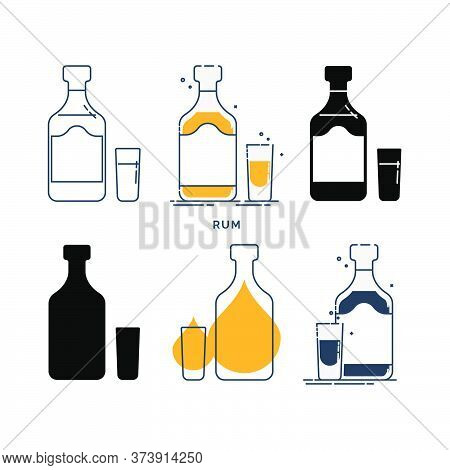 Set Of Bottles And Glasses With Rum In Different Styles. Template Alcohol Beverage For Restaurant, B