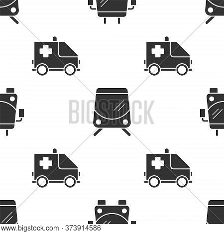 Set Trolleybus, Tram And Railway And Ambulance And Emergency Car On Seamless Pattern. Vector