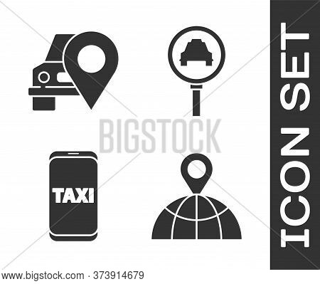 Set Location On The Globe, Map Pointer With Taxi, Taxi Call Telephone Service And Magnifying Glass A
