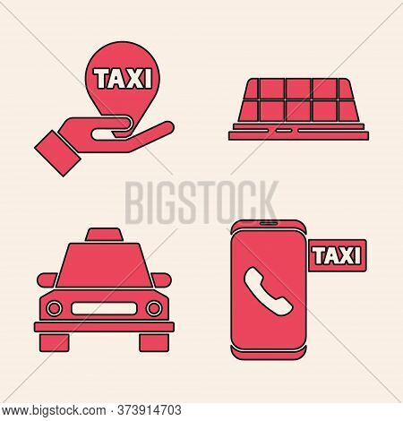 Set Taxi Call Telephone Service, Hand On Map Pointer With Taxi, Taxi Car Roof And Taxi Car Icon. Vec