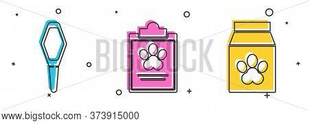 Set Pets Vial Medical, Clipboard With Medical Clinical Record Pet And Bag Of Food For Pet Icon. Vect