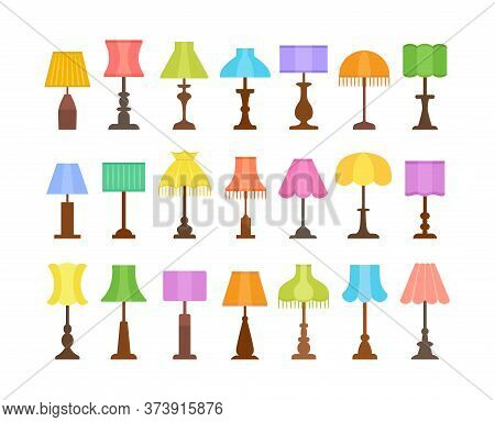 Vintage Table Lamps With Different Types Of Shades & Bases. Flat Icon Set Of Desk Light Fixtures. Ho