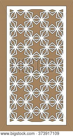 Laser Cutting Stars. Arabesque Decorative Vector Panel. Template For Interior Partition In Arabic St