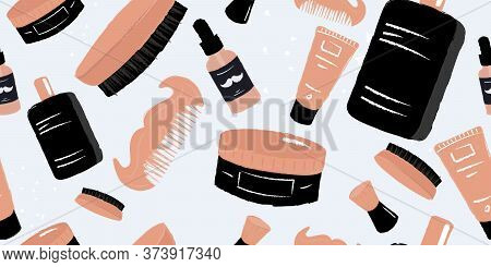 Men Hygiene And Self Care Seamless Pattern. Cosmetic Salon Or Barber Shop Repetitive Background. Mus