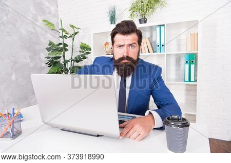 Internet Surfing. Confident Computer User. Businessman Use Computer For Business. Bearded Man Work O