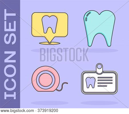 Set Id Card With Tooth, Dental Clinic Location, Dental Floss And Tooth Icon. Vector