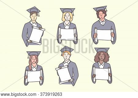 Studentship, Graduation, Diploma, Multiculture Set Concept. Multiethnic African American Chinese Boy
