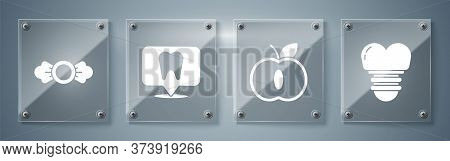 Set Dental Implant, Apple, Dental Clinic Location And Candy. Square Glass Panels. Vector