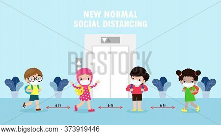 Back To School For New Normal Lifestyle Concept. Happy Kids Wearing Face Mask And Social Distancing