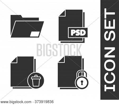 Set Document And Lock, Document Folder, Delete File Document And Psd File Document Icon. Vector