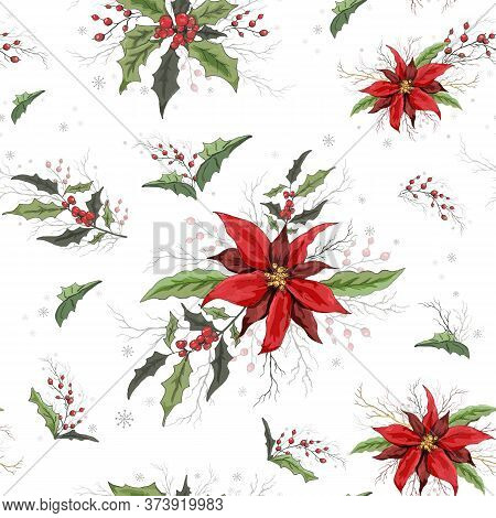 Winter Seamless Vector, Flower Pattern. Modern Background With Flowers: Poinsettia, Holly, Rowan Bra