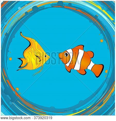Hand Drawn Cartoons Style Cute Colourful Tropical Fishes Over Abstract Vortex Spinning Water And Bub