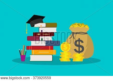 Education With Scholarship. Money For Tuition In School, College, University. Hat For Student In Gra