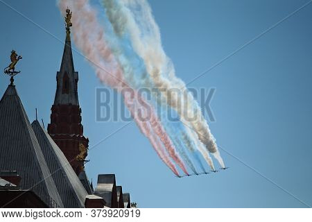 Moscow, Russia - June 24, 2020: Victory Parade -75. Red Square. Aerial Show In Sky. Air Parade Russi