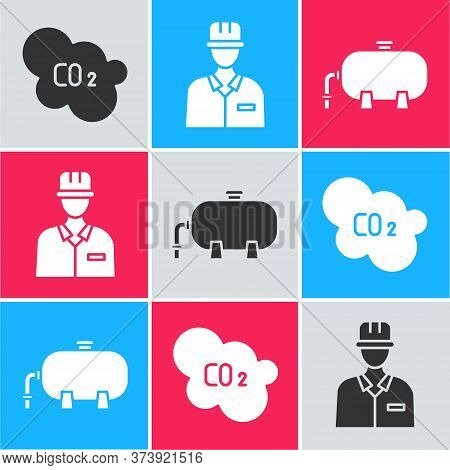 Set Co2 Emissions In Cloud, Oilman And Oil Industrial Factory Building Icon. Vector
