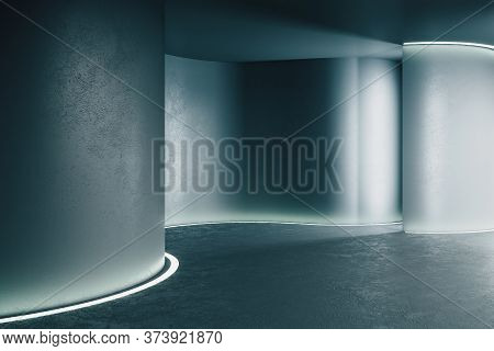Abstract Gray Futuristic Warp In Interior. Future And Design Concept. Mock Up. 3d Rendering