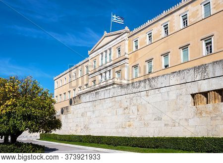 Athens, Greece - March 15, 2018: Upward View Of  The Hellenic Parliamant