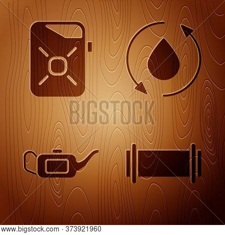 Set Industry Pipe, Canister For Motor Oil, Canister For Motor Oil And Oil Drop On Wooden Background.