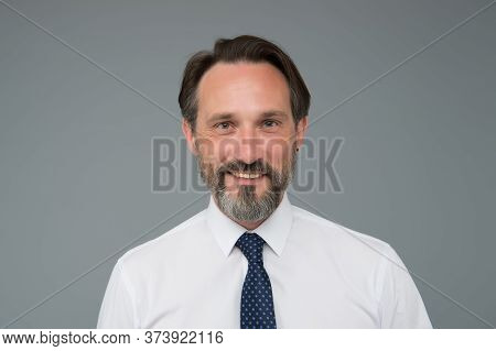 Male Formal Fashion. Successful Senior Business Man Wear Shirt And Tie. Happy Office Clerk Worker. M