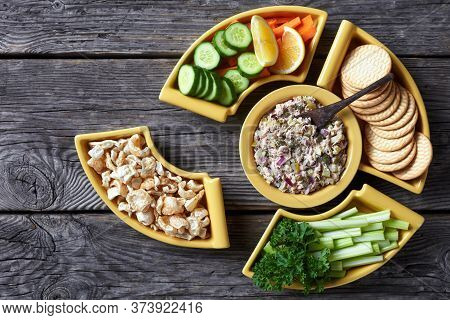 Tuna Capers Pickles Salad Set Served With Carrots And Celery Sticks, Sliced Fresh Cucumber, Crackers