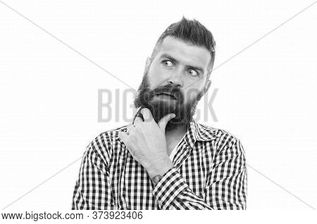 Brutal Caucasian Hipster With Moustache. Pensive Handsome Old-fashioned Hipster. Brutal Bearded Male