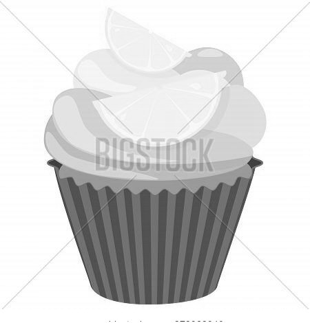 Realistic Cupcake. Sweet Creamy Desserts Muffins With Lemon, Delicious Confectionery And Baking.