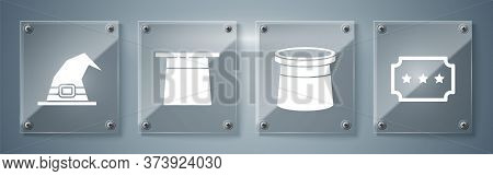 Set Ticket, Magician Hat, Magician Hat And Witch Hat. Square Glass Panels. Vector