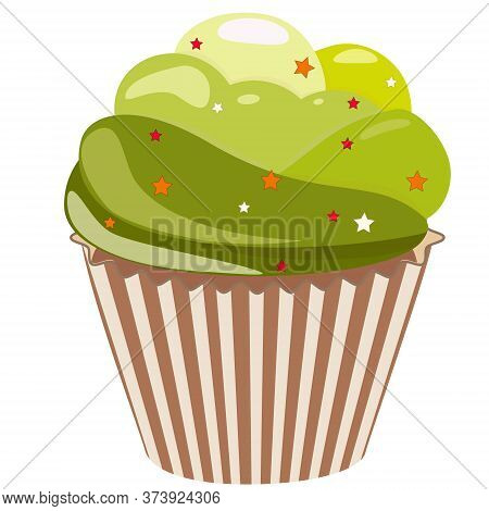 Realistic Cupcake. Sweet Creamy Desserts Muffins With Frosting Flavors Decoration, Delicious Confect