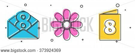 Set Envelope With 8 March, Flower And Greeting Card With 8 March Icon. Vector