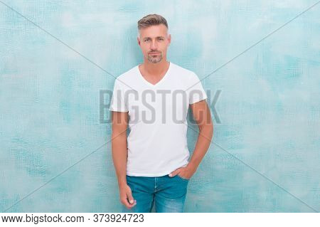 Man With Bristle On Unshaven Face. Street Style. Modern Lifestyle. Bearded Mature Macho. Summer Male