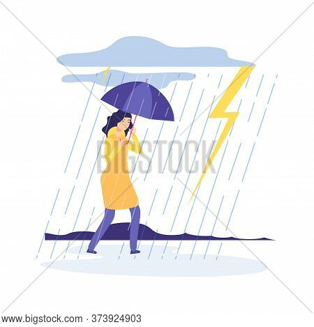 Woman Rainy Day. Bad Weather, Girl With Umbrella. Sad Tired Female Character. Person Walks In Thunde
