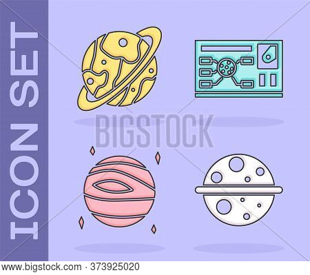 Set Planet Saturn, Planet Saturn, Planet Venus And Futuristic Hud Interface Icon. Vector