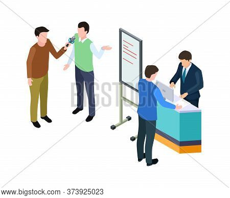 Business Presentation. Isometric Businessman, Guy Giving Interview. Conference Or Product Advertisin