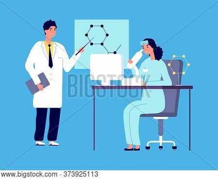 Scientists Characters. People In White Lab Coat, Chemical Researcher With Laboratory Clinical Equipm