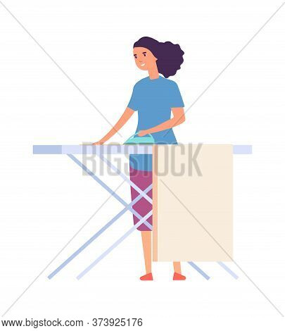 Woman Ironing. Housewife Doing Housework. Flat Female Character With Iron. Isolated Cute Woman Vecto