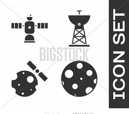 Set Moon, Satellite, Satellites Orbiting The Planet Earth And Satellite Dish Icon. Vector