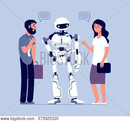 People Talk With Robot. Technology Helping Customer, Business Help Support. Chatbot Messenger, Man W