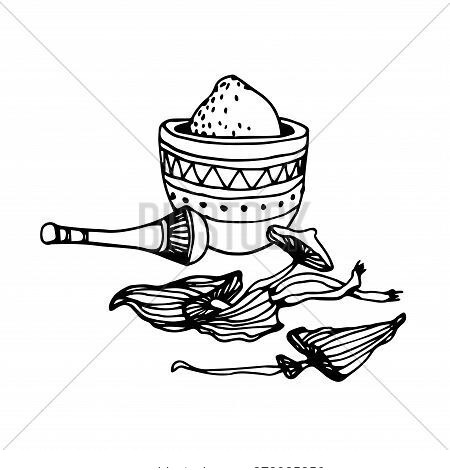Traditional Pestle & Mortar With Powder From Dry Forest Poisonous Toadstools, Ingredient For Magic A