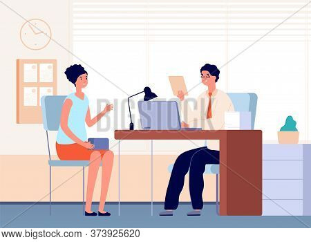 Interview With Boss. Job Occupation, Female Communication In Office With Businessman Or Hr Manager.